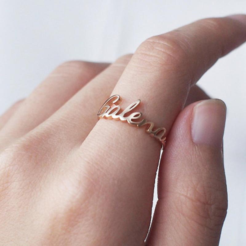Dainty Custom Handwritten Font Name Rings | Personalized Women's Jewelry